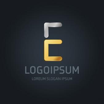 Logotipo dorado y plateado con la letra e