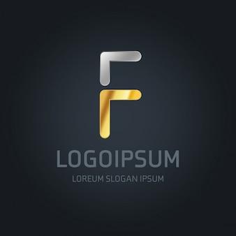 Logotipo dorado y plateado con la letra f