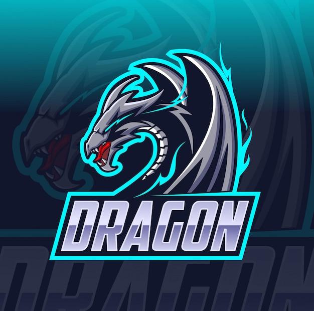 Logotipo de dragon mascota esport