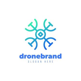 Logotipo de drone degradado azul