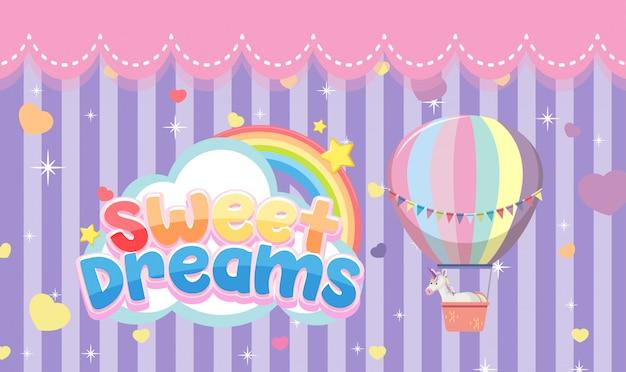 Logotipo de dulces sueños con globo de aire caliente sobre fondo de rayas moradas