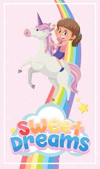 Logotipo de dulces sueños con niña montada en lindo unicornio sobre fondo rosa