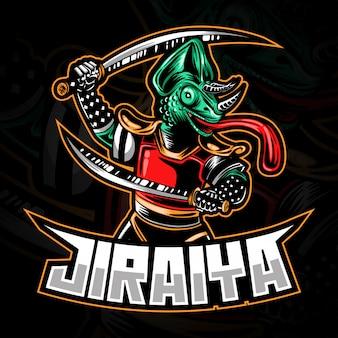 Logotipo de e-sport gaming o ilustración de mascota que representa a samurai o ninja chameleon con espadas