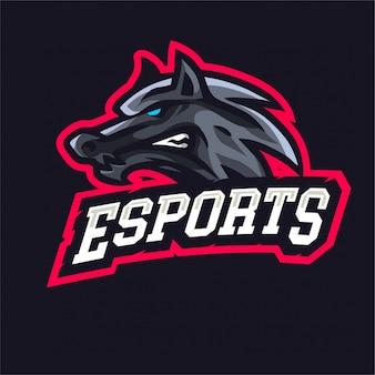 Logotipo de e-sport de lobos enojados