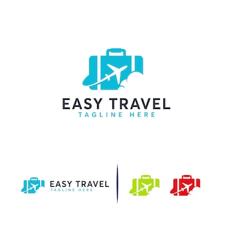 Logotipo de easy travel, plantilla de logotipo de agencias de viajes