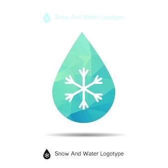 Logotipo de ecología, icono y símbolo de la naturaleza: nieve en gota