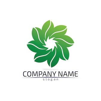 Logotipo ecológico de la hoja del árbol