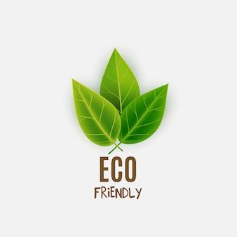 Logotipo ecológico con hojas verdes.