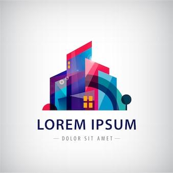 Logotipo de edificio abstracto colorido geométrico