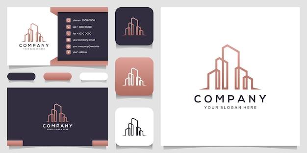 Logotipo de edificio abstracto con diseño de tarjeta de visita de estilo de arte lineal