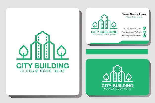 Logotipo de edificio de ciudad verde moderno, logotipo de ciudad ecológica de arte lineal con tarjeta de identidad, plantilla