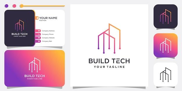 Logotipo de edificio con concepto de tecnología vector premium