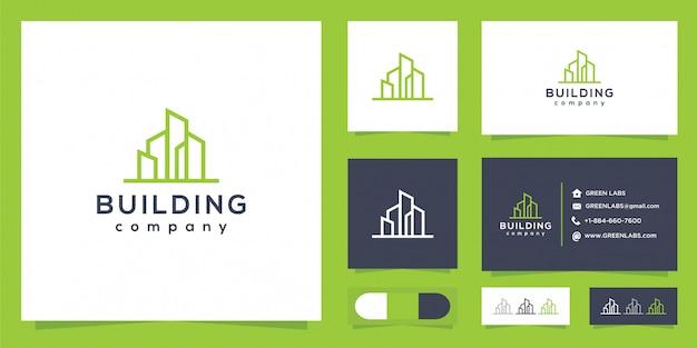 Logotipo de edificio minimalista y tarjeta de visita.