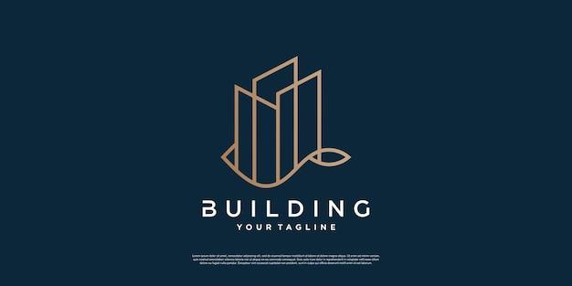 Logotipo de edificio moderno creativo con estilo de línea vector premium