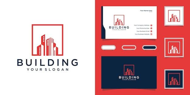Logotipo de edificio con plantilla de diseño cuadrado y tarjeta de visita