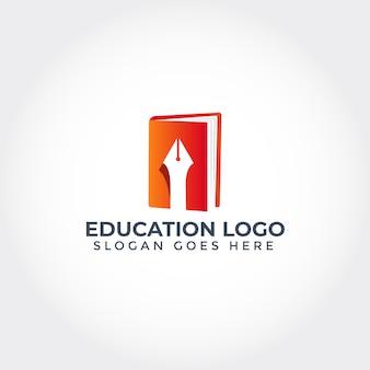 Logotipo de educación con libro y bolígrafo