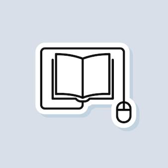 Logotipo de educación en línea, icono, pegatina. vector. curso de e-learning desde casa, estudio en línea educación a distancia, libros electrónicos. banner de examen a distancia. vector sobre fondo aislado. eps 10.