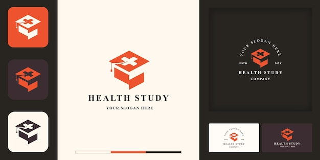 Logotipo de educación para la salud, gorro y cruz de graduación y tarjeta de visita