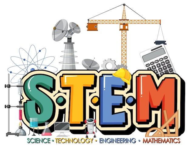 Logotipo de educación stem con elementos de adorno de icono sobre fondo blanco