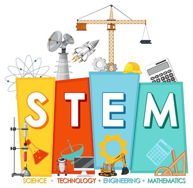 Logotipo de educación stem con elementos de adorno de icono