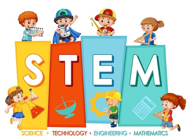 Logotipo de educación stem con muchos niños sobre fondo blanco.