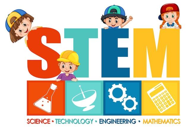 Logotipo de educación stem con personaje de dibujos animados de niños