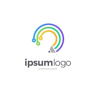 Logotipo de educación tecnológica con lápiz y circuito.