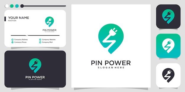 Logotipo eléctrico con concepto de pin de alimentación vector premium