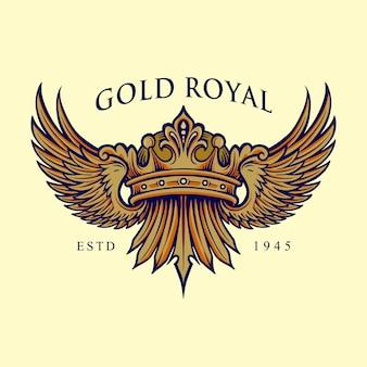 Logotipo elegante de la corona real dorada