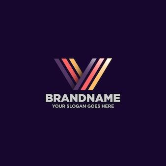 Logotipo elegante de la letra v
