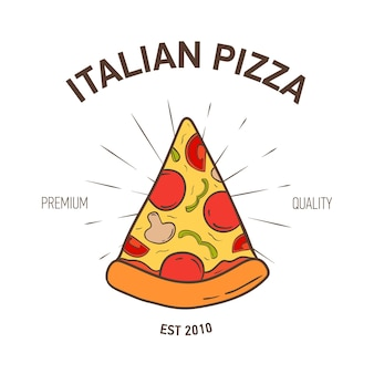 Logotipo elegante con rebanada de pizza y rayos radiales sobre fondo blanco.