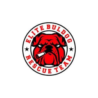 Logotipo de elite bulldog con humo o cigarrillo equipo de rescate de bulldog rojo