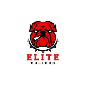 Logotipo de élite bulldog con humo o cigarrillos bulldog rojo bulldog enojado