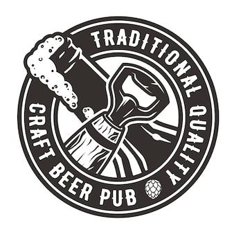 Logotipo del emblema con abridor y botella.