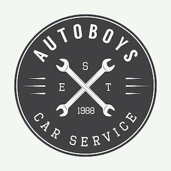 Logotipo, emblema y etiqueta de mecánico vintage. ilustración vectorial