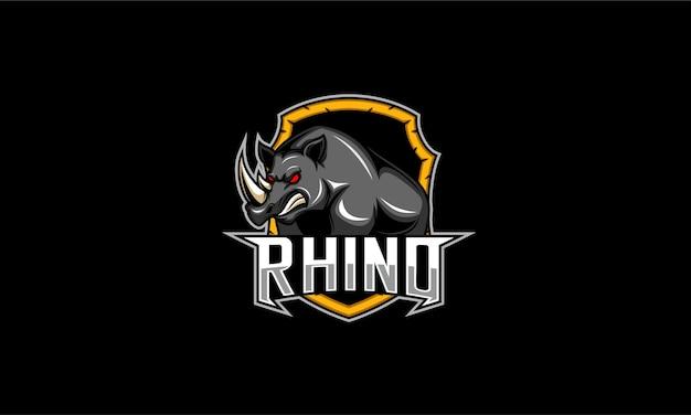 Logotipo de emblema de rinoceronte enojado