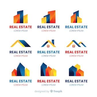 Logotipo de empresa para la colección de plantillas de bienes raíces