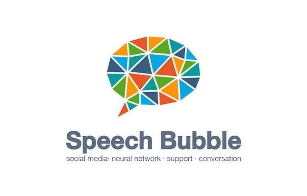 Logotipo de empresa comercial abstracto. elemento de identidad corporativa. mercado de redes sociales, red, bocadillo, idea de logotipo de mensaje. cita de diálogo concepto conectado globo. icono de interacción