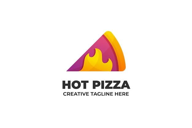 Logotipo de empresa de comida rápida de pizza caliente