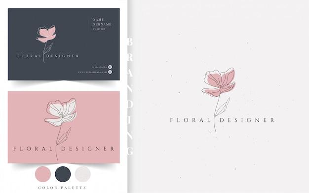 Logotipo de empresa de diseño floral.