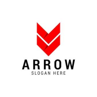 Logotipo de la empresa de flechas hacia abajo