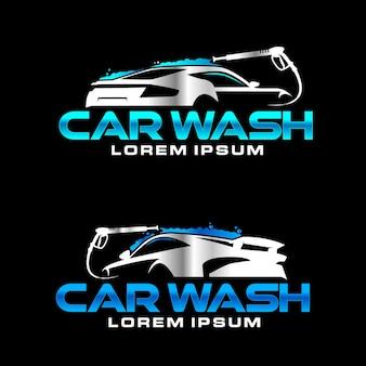 Logotipo de la empresa de lavado de autos automotriz con presión de agua.