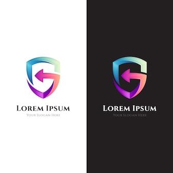 Logotipo de la empresa de la letra g de guardia