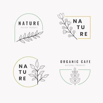 Logotipo de empresa natural establece plantilla en estilo minimalista