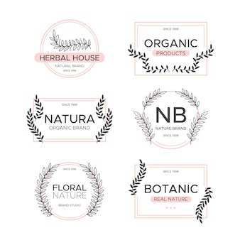 Logotipo de empresa natural pack estilo minimalista