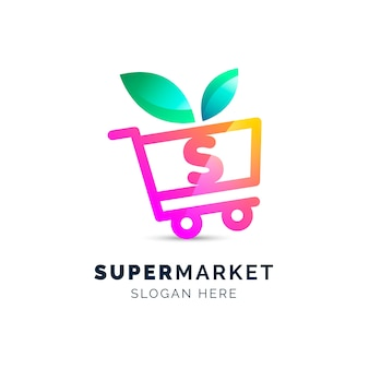 Logotipo de empresa de negocios de supermercado orgánico