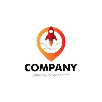 Logotipo de empresa de ubicación de cohetes