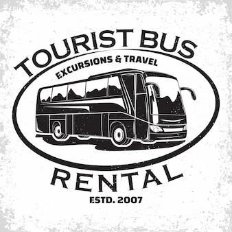 Logotipo de la empresa de viajes en autobús, emblema de la organización de alquiler de autobuses turísticos o excursiones, sellos de impresión de agencias de viajes, emblema de tipografía de autobuses,