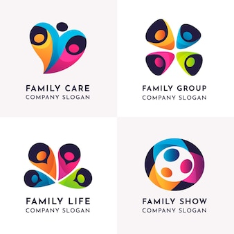 Logotipo de la empresa de vida familiar minimalista
