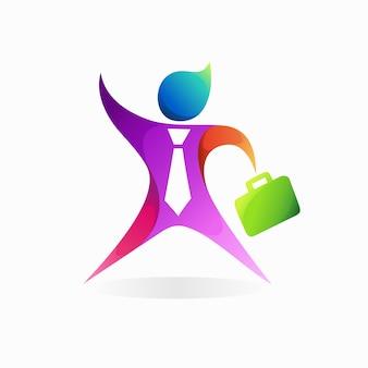 Logotipo de empresario con concepto de bolsa